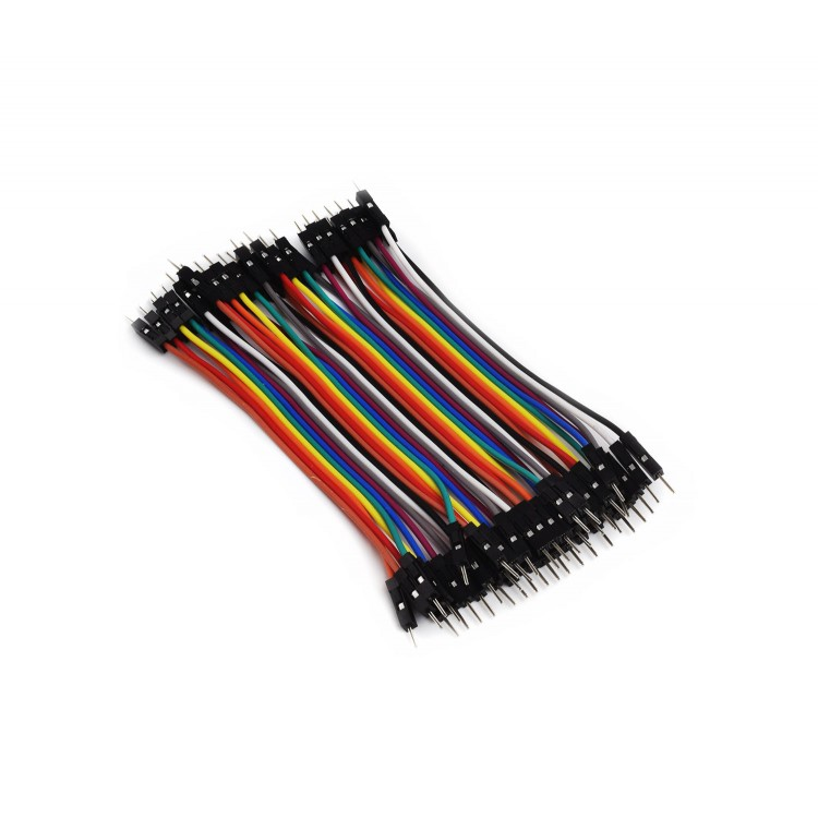 BREADBOARD CABLES (40X 100MM, MALE TO MALE, 2.54MM)