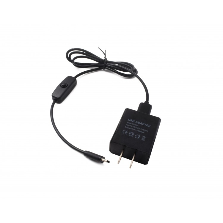 Power Adapter and Cable for RPi 4 (USB Type-C, with On/Off Button)