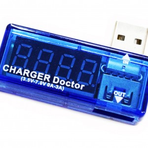 USB charger with voltmeter and amperemeter