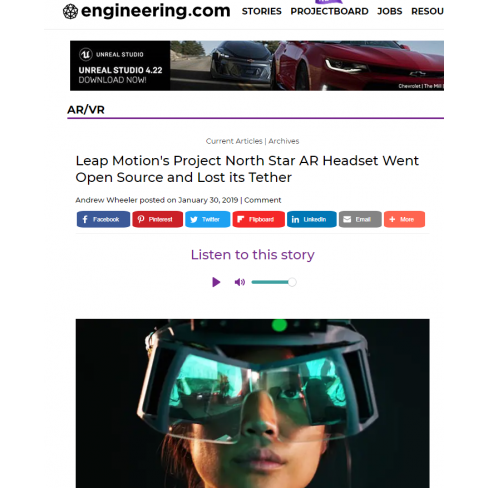 Leap Motion's Project North Star AR Headset Went Open Source (Engineering.com)