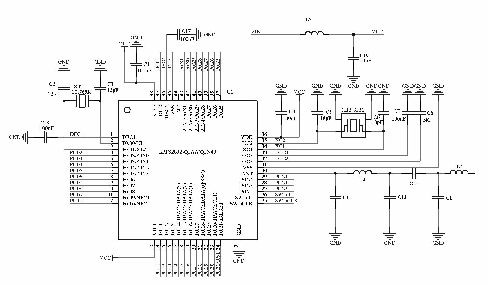 Nrf52832 Bluetooth Module Ce Fcc Half Cut Hole