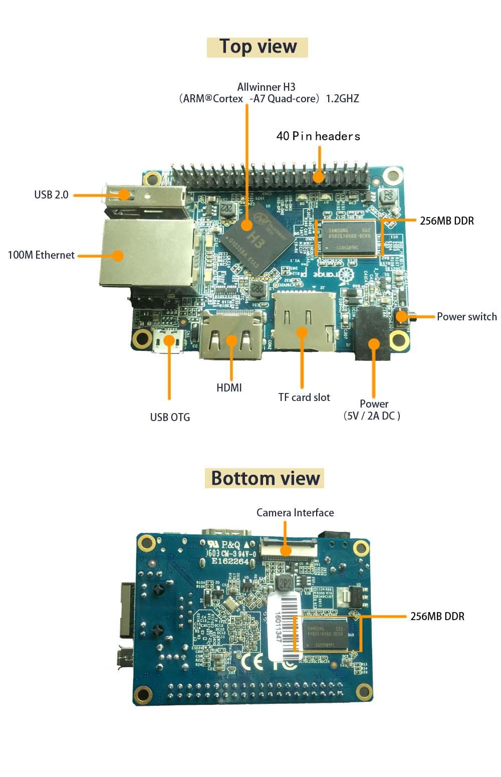 Orange Pi One A7 Quad Core CPU (1 6GHz, 512MB, DDR3)